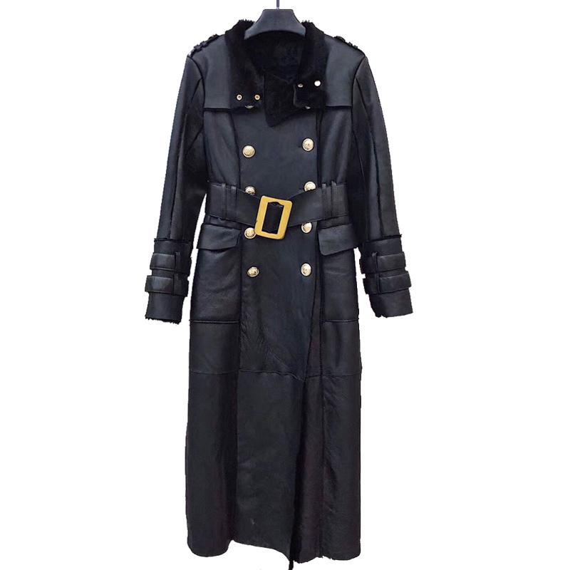 Damen Abschnitt Klassische Mäntel Frau Jacke Schaffell Graben Winter Ad Lange Leder Mode Pelz Frauen Echte Schafe WDYEH9I2