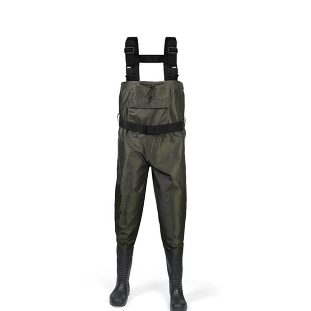 高品質ナイロン生地フライフィッシングウェイダー 100% 防水胸ウェイダーとブーツ