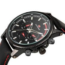 Роскошные мужские часы, многофункциональные светящиеся часы с календарем, большой циферблат, кожаный ремешок, водонепроницаемые спортивны...(Китай)