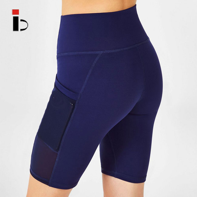 OEM Custom wholesale fitness comfortable rapid dry women blue gym shorts