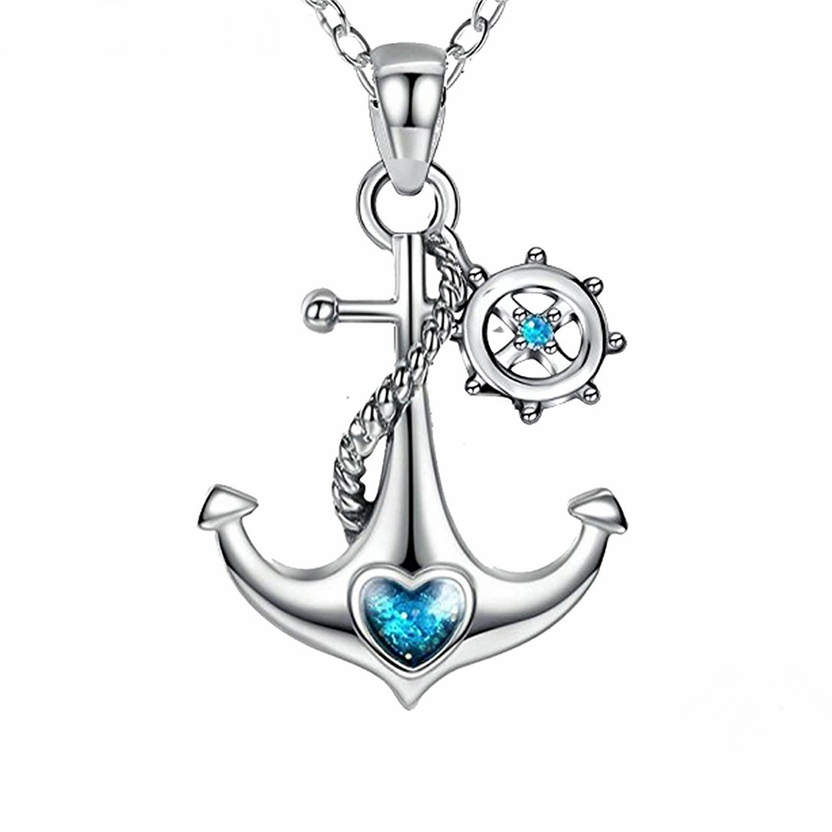 heart of the ocean 925 sterling silver anchor pendant necklace