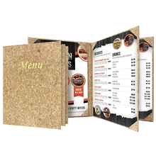 Restaurant Cork Style 4 Pages Album Corner Table Holder Menu Covers