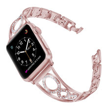 Для женщин ремешок для часов для apple Watch 4/3/2/1 серии Алмазный диск Нержавеющаясталь ремешок для наручных часов iwatch, версия 4 40 мм 44 подарок для...(Китай)
