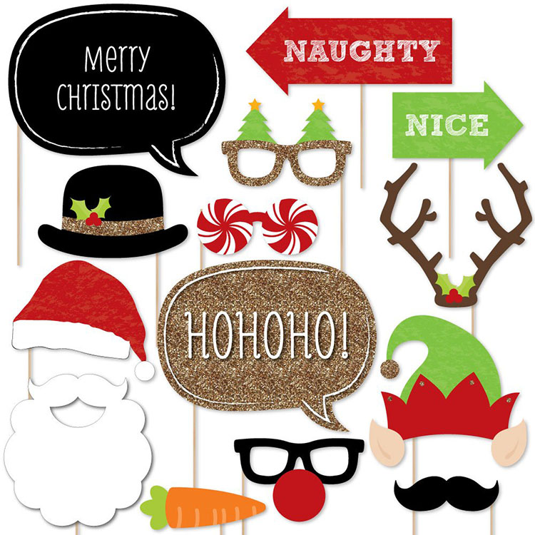 Nicro 20 Pcs Holiday Christmas Party Game Photo Booth Props Set