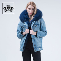 new product faux fur lining winter hooded coat women denim winter coat