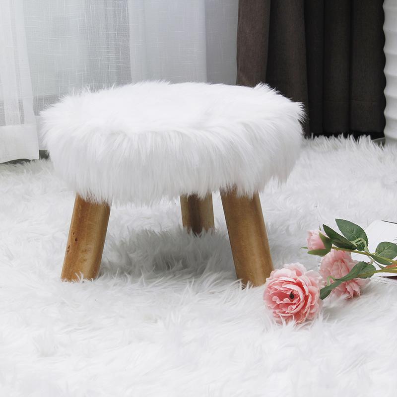 Modern laynsino Faux Fur Fabric round ottoman living room solid wood stool