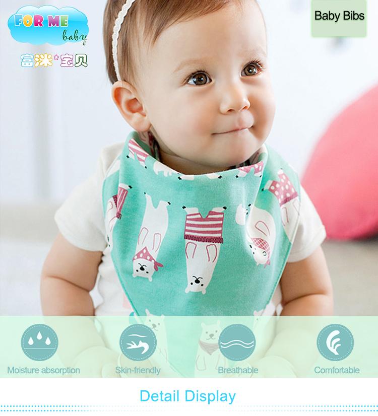高品質 200gsm 綿 2 スナップベビースカーフカチューシャバンダナビブ幼児よだれと歯が生える