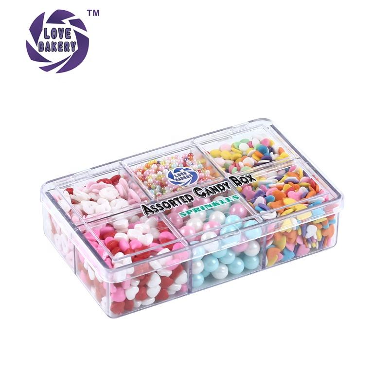 Liebe Bäckerei Assorted Süßigkeiten Box Bunten Zucker Perlen Konfetti Presse Süßigkeiten Streusel Kuchen Dekorationen