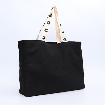 Manufacturer Eco friendly Custom Logo Long Handle Shopping Promotion Advertising Blank Black Cotton Canvas Tote Bag