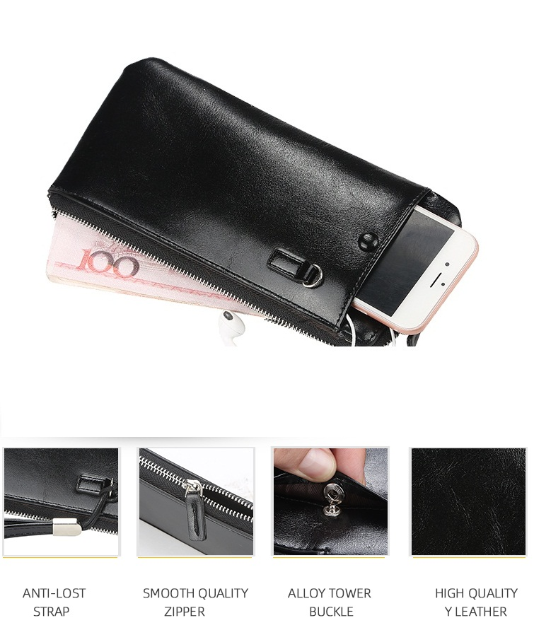 2019 Baellerry New Style Long Section Soft Leather Phone Wallet For Men With Handle Strap,Male Mobile Cell Phone Bag