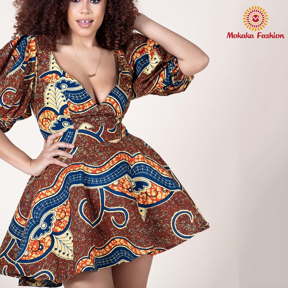 High Quality Wholesale Custom Cheap casual african dresses print clothing ankara dress