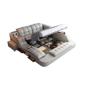 Smart Bed with multifunction Bluetooth Massage Tatami Big storage, bed lamp fabric double size bed bedroom furniture