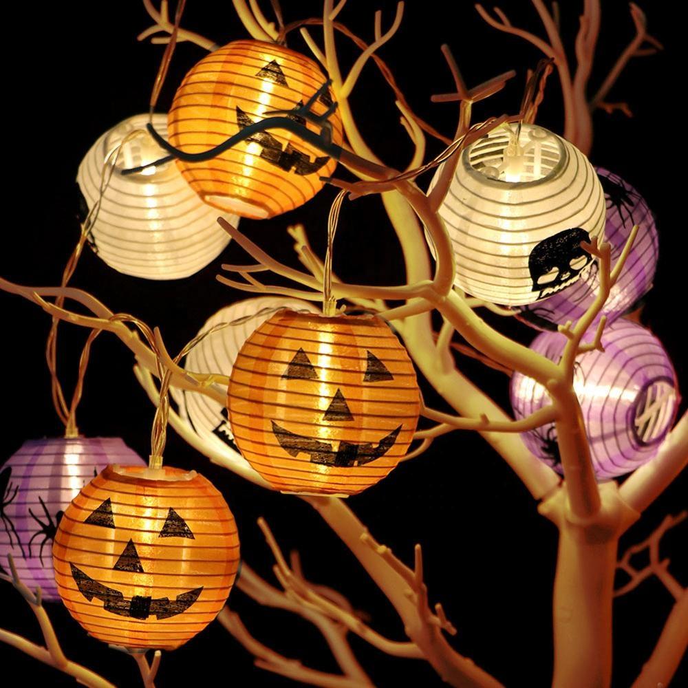 OurWarmโคมไฟฟักทอง3D 10 LEDสำหรับตกแต่งกลางแจ้ง,ฮาโลวีนพร้อมสายห้อยอุปกรณ์ประกอบฉากสำหรับปาร์ตี้ที่บ้าน