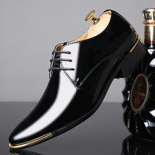 REETENE/мужские туфли из высококачественной лакированной кожи; Мужские свадебные туфли оксфорды на шнуровке; Деловой костюм; Мужская повседне...(China)