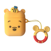 Yellow Pooh Soft Silicone Anti-fall earphone case with Hanging ornament for airpods