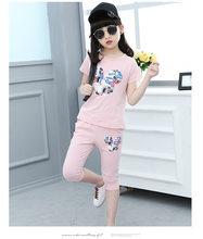Детская летняя одежда для девочек, футболка с короткими рукавами для подростков + леггинсы, комплект с мультипликационным принтом для детей...(Китай)