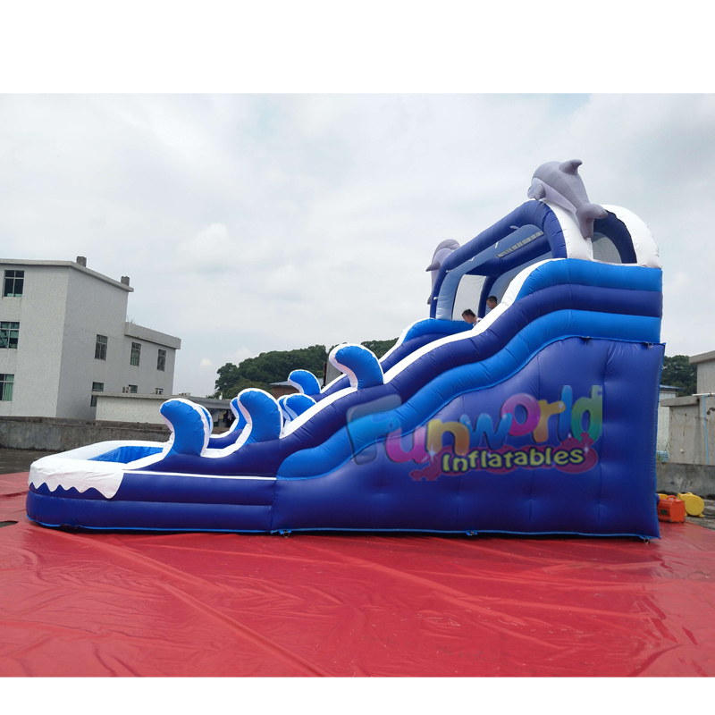 Heavy duty inflatable water slides blue wave water slide inflatable water slide with swimming pool
