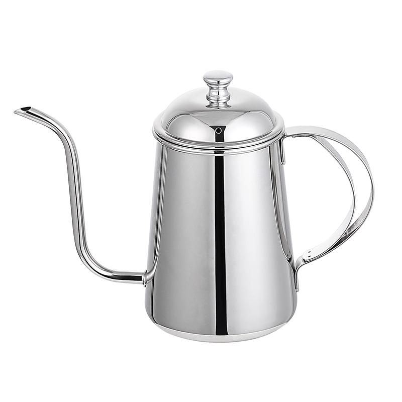 Elegant Silver Narrow Mouth 18/10 Stainless Steel Pour Over Drip Pot  Gooseneck Coffee Kettle