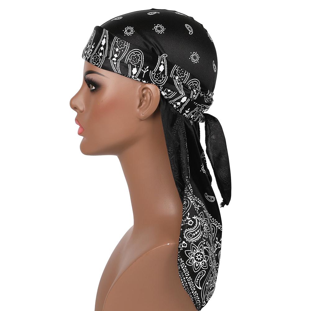2020 Unisex Men Silk Durag Custom Print Soft Bandana Turban Hair Accessories Women Hip Hop Long ...