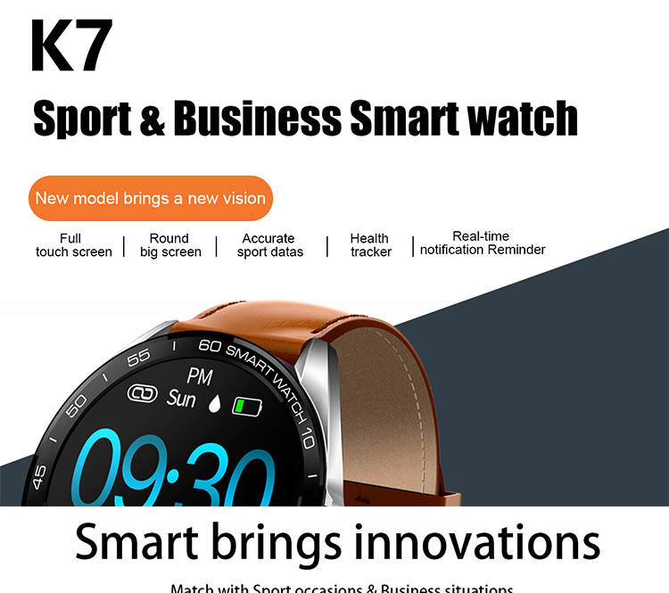LEMONDA SMART K7 1.3-inch Full Touch Round Screen Sleep Monitoring Alarm Clock IP68 Waterproof Fitness Watch