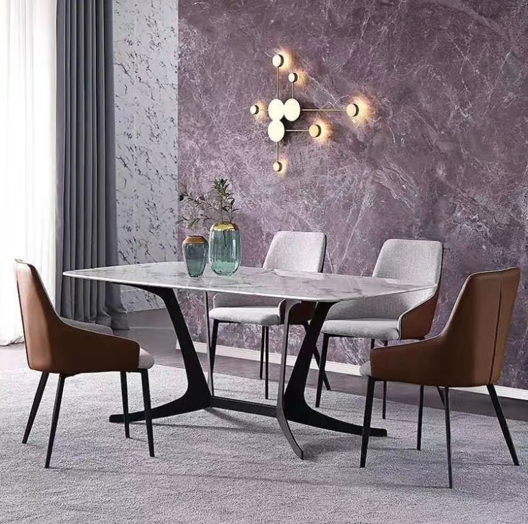 2020 Customized Rectangular Real Natural Marble Top Italian Luxury Design Wood Types 6 Chairs Dining Table Set