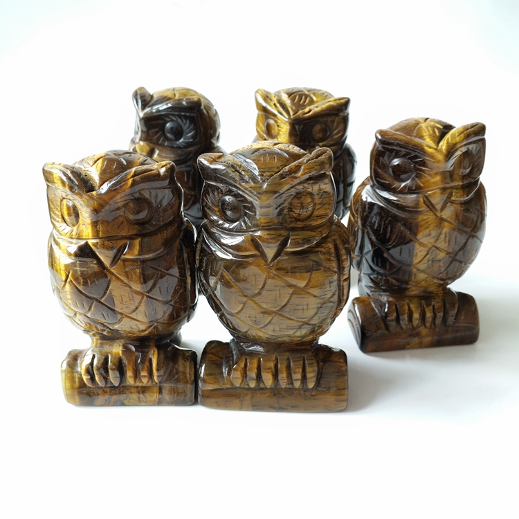 Natural tiger eye owl carving crystal animal crafts for decoration