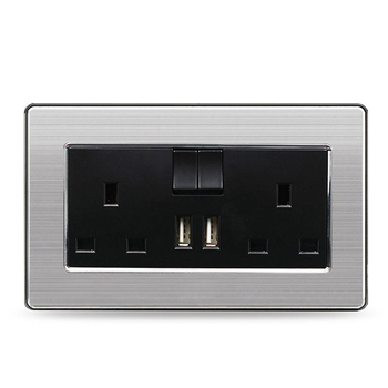 Stainless Steel 13A Universal UK Standard Double 3 Pin Wall USB Socket Switch