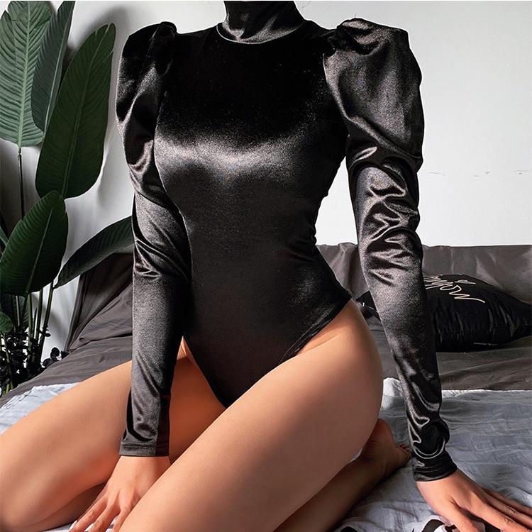 Female Long Sleeve High Neck Black Bodycon Sexy Bodysuit 2020 Women Fashion Casual Slim Fit Body In Bulk