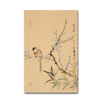 Handmade Natural Scenery Birds Landing on The Branch Flower Chinese Ink Painting Art Decor