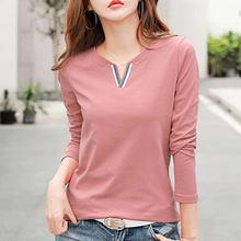 Осенняя и зимняя новая футболка с длинными рукавами женская Свободная корейская модная Однотонная рубашка с v-образным вырезом Одежда боль...(Китай)