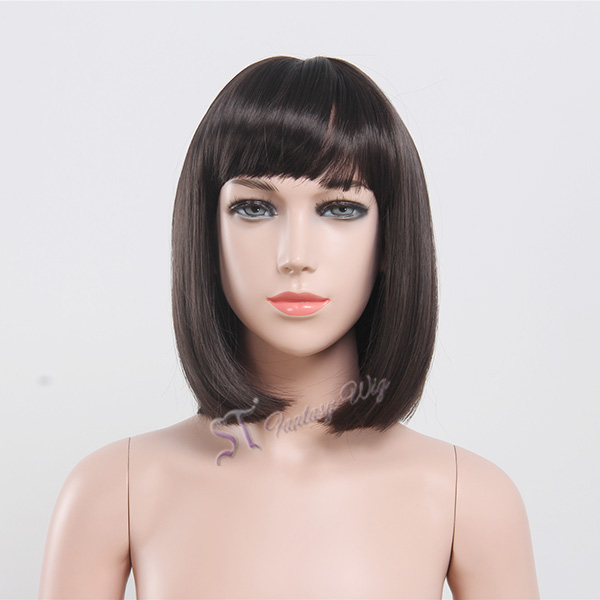 Dark Brown Straight Short Haircut Bob Style Children Girl Wig With Wig Cap