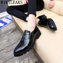 Лоферы; Модельные туфли для мужчин; Элегантные мужские туфли Oxford из лакированной кожи; Черные мужские туфли; Повседневная Роскошная Свадебн...(China)