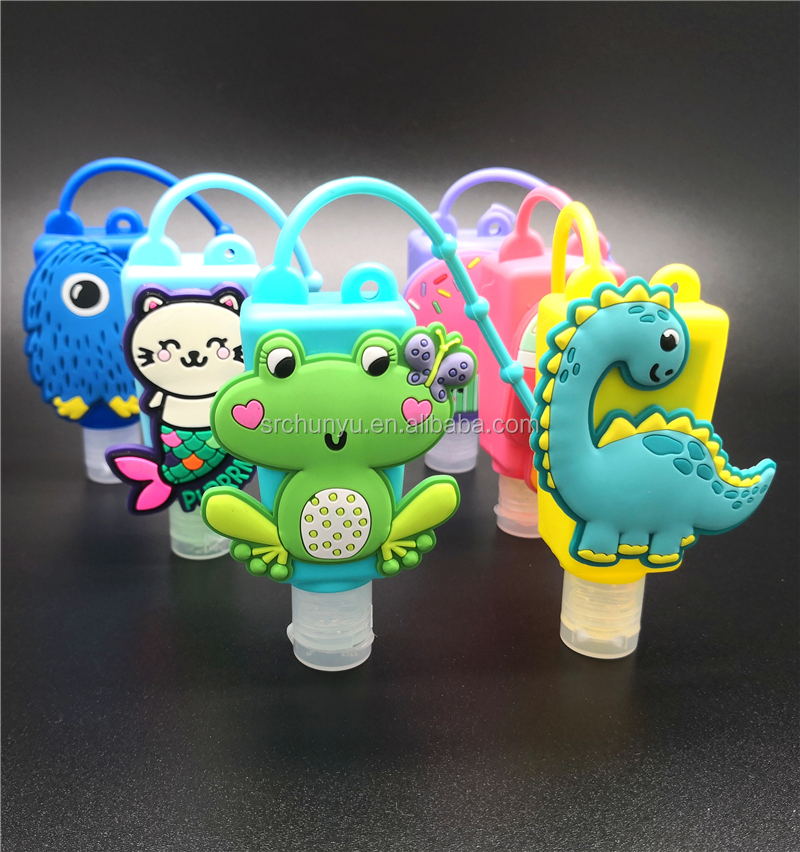 Wholesale customized natural scented silicone holders hand sanitizer gel with animal cartoon display box