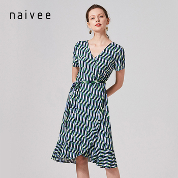 naivee women plus size office summer yellow color dresses for mature women