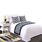 Wholesale 100% cotton King size 300TC 5 star hotel white stripe luxury bed sheet bedding sets