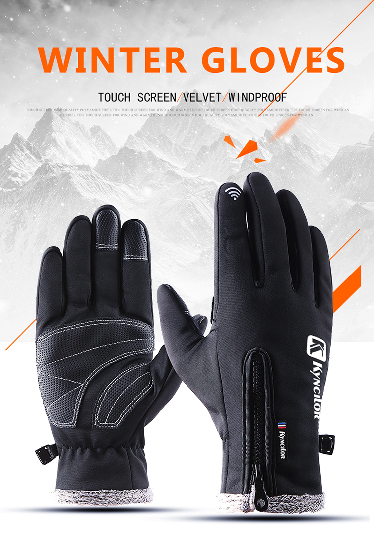 Touch Screen Winter Bike Gloves Windproof Full Finger Cycling Glove Men Bike Riding Gloves