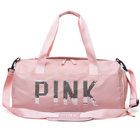 Large Capacity Sport Travel Bag Shoulder Bags Fashion Travel Pink Letter Tote Trip Duffel Bag
