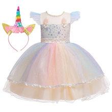 Длинное свадебное платье с цветочным рисунком для девочек, с единорогом и радугой; Вечерние платья для девочек на день рождения с единорого...(Китай)