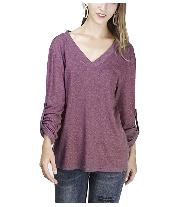 Womens Casual V Neck Tee 3/4 Roll Sleeve Top Elegant Henley Shirts Blouses
