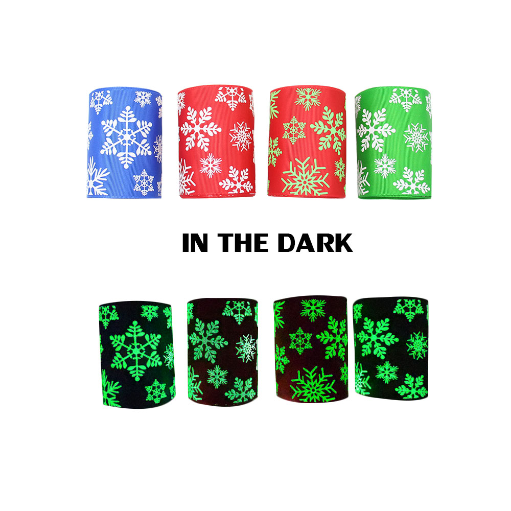 "Party Supplies Glow In The Dark Printed 3"" Christmas Ribbon Decoration"