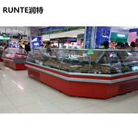 Curved Glass Meat showcase / Meat counter / Delicatessen meat fridge