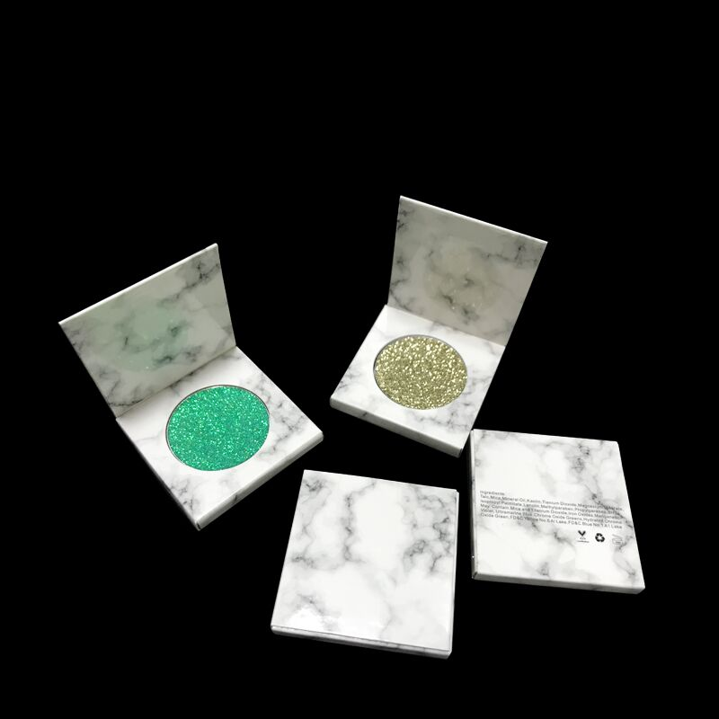 Single eyeshadow magnetic 36mm marble empty eyeshadow palette custom cardboard package design box wholesale makeup