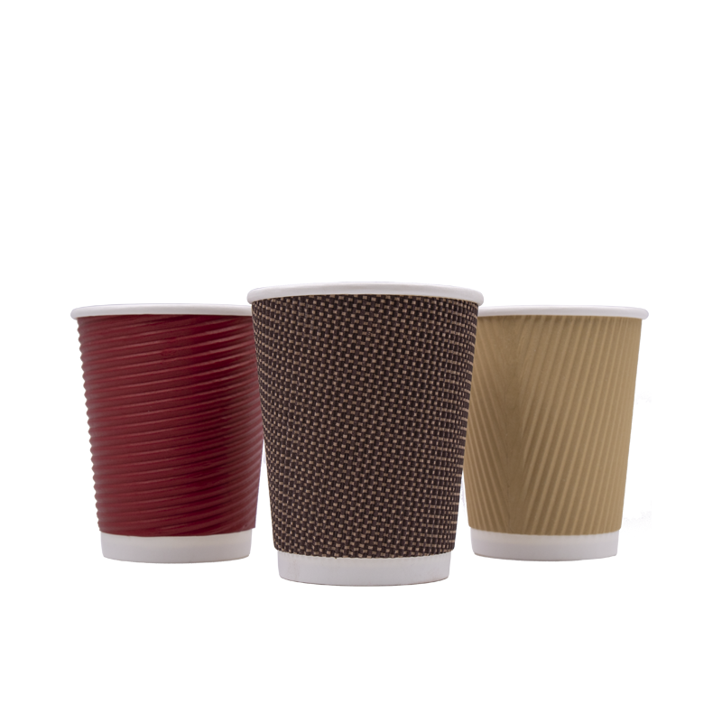 8oz 10oz 12oz Hot Drink Biodegradable Ripple Wall Coffee Paper Cups with Lids