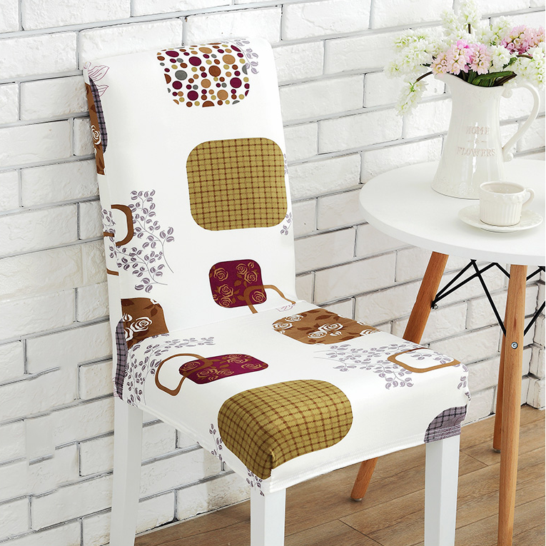 Soft Spandex Fit Stretch Short Dining Room Chair Covers With Printed Pattern Chair Seat Protector Slipcover For Home Party