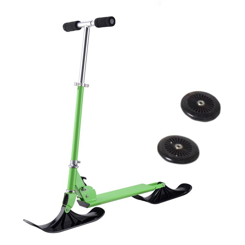 겨울 스포츠 완구 인기있는 야외 Foldable 2 1 기능 스노우 스키 스쿠터 프로 익스트림 스키 스쿠터 자전거 성인 키즈