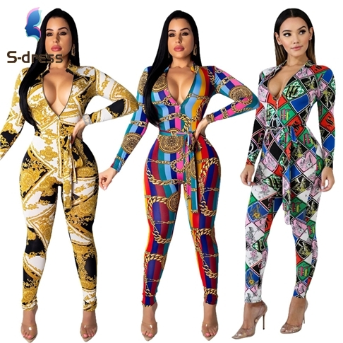 B90568 Sexy <strong>zip</strong> up <strong>v</strong> neck long sleeve digital printing belt fashion woman slim jumpsuit