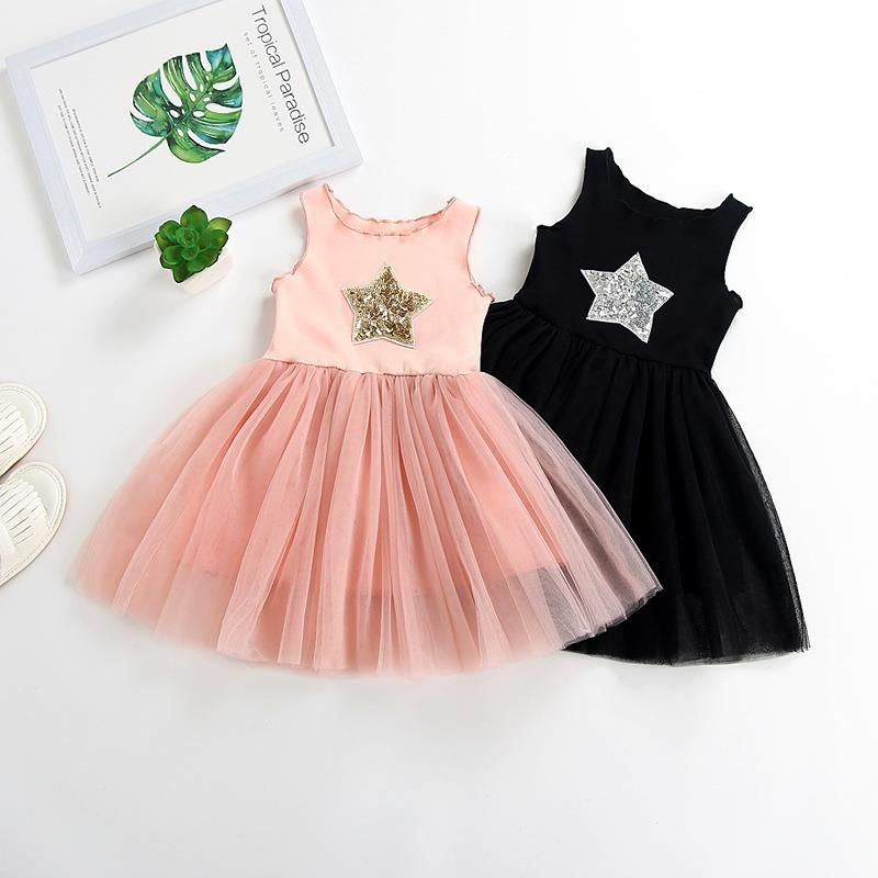 2019 new summer baby <strong>girl</strong> five stars lace princess dress <strong>fashion</strong> <strong>kids</strong> soft coton suspender frocks