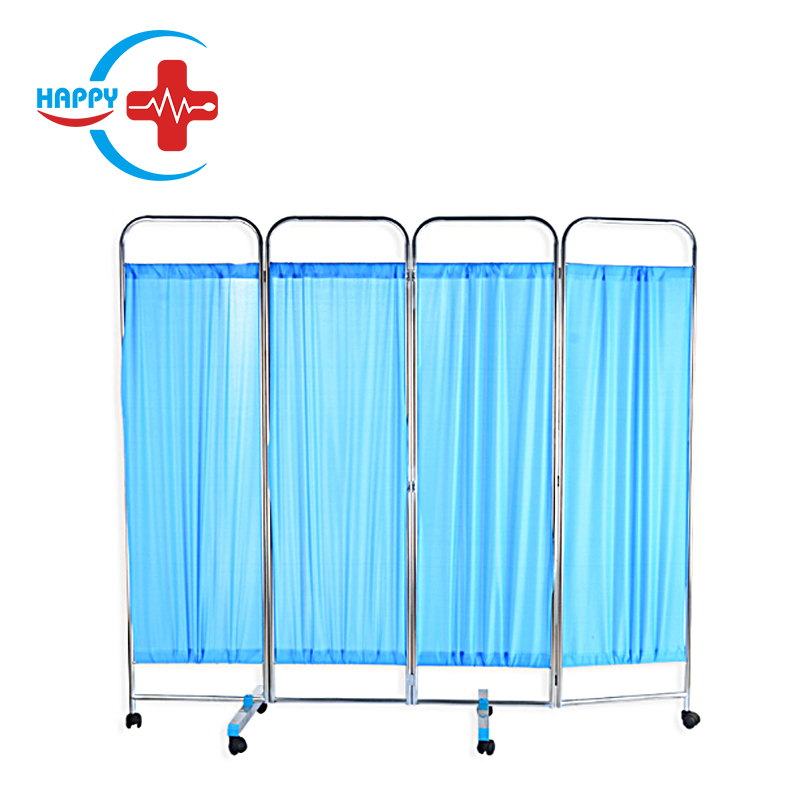 HC-M095 Hospital Clinic furniture 4 folds movable cheap medical bed screen/ 4 folds Screen/hospital ward screen
