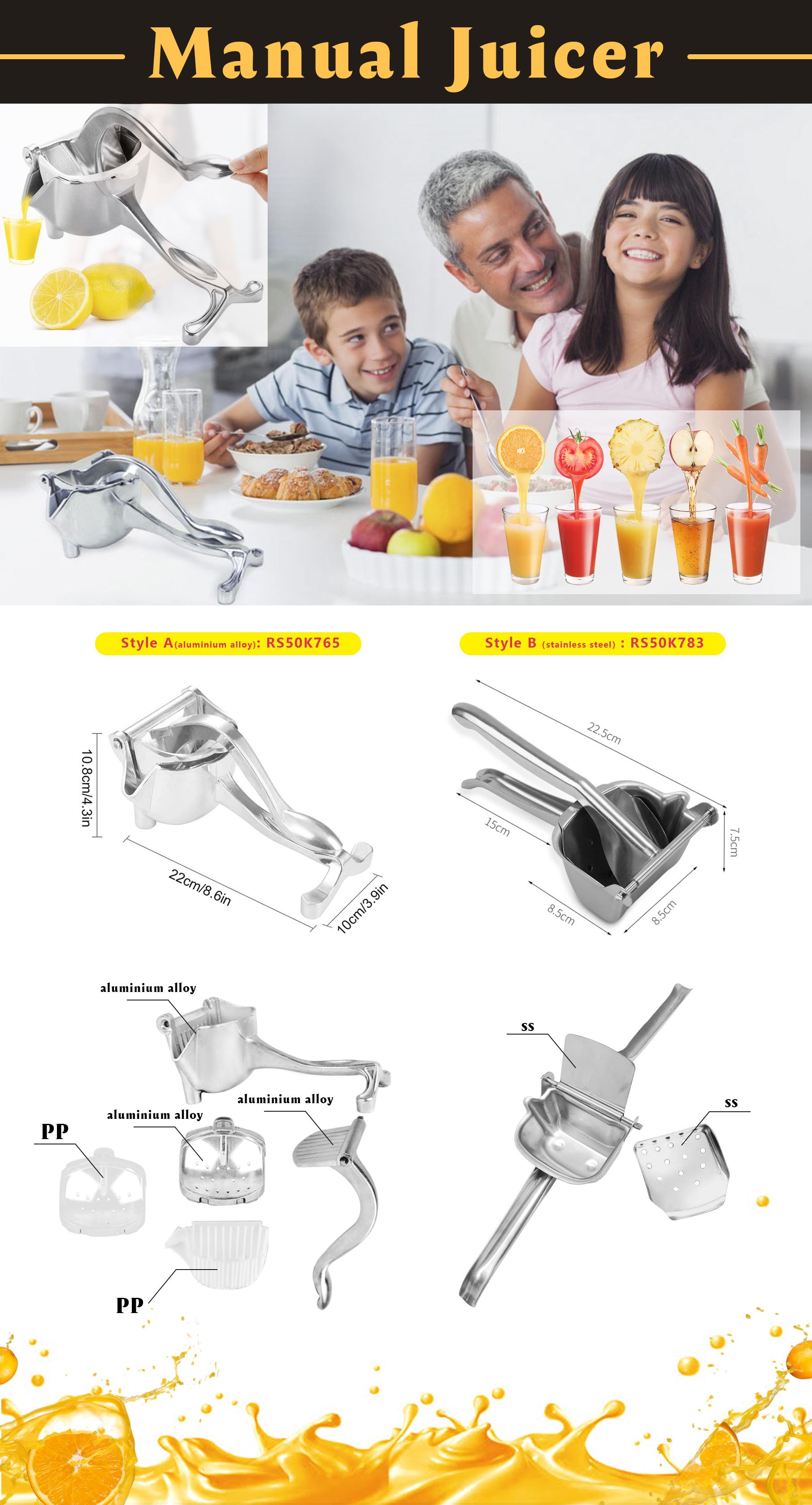 Portable Lemon Orange Sugarcane, Squeezer 304 Stainless Steel Hand Juicer Press Extractor Mini Manual Citrus Juicer/