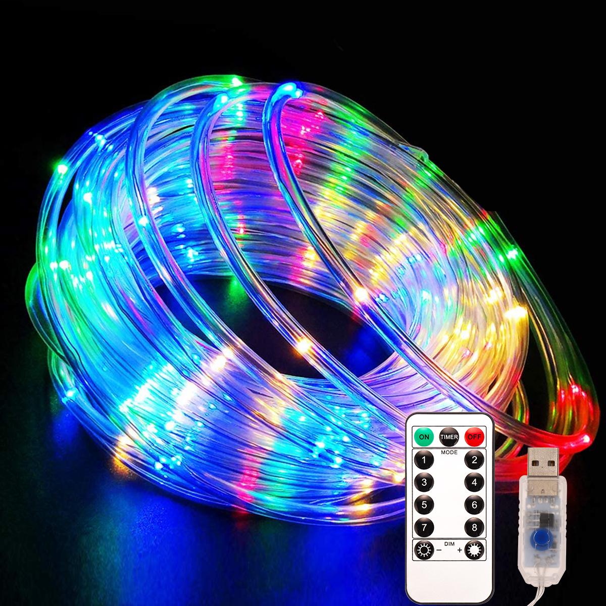 100 एल ई डी 12 मीटर यूएसबी चार्ज IP67 निविड़ अंधकार आउटडोर क्रिसमस प्रकाश उद्यान सजावटी रस्सी प्रकाश